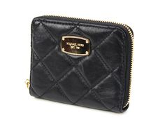 4952671a34d5 New Michael Kors Hamilton Quilted Leather Zip Around Bi Fold Wallet Black # MichaelKors #Bifold