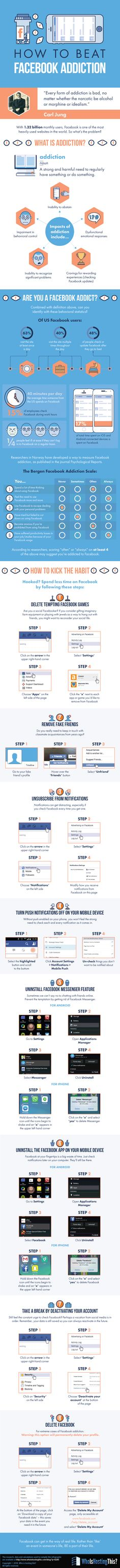 Do you – or someone you know – suffer from Facebook addiction? It's time to take control! Repin this infographic to remember the tips.