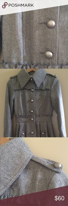 """Coat Military style coat. 40""""  long. Excellent condition. Worn once. From a smoke and pet free home. Jackets & Coats"""