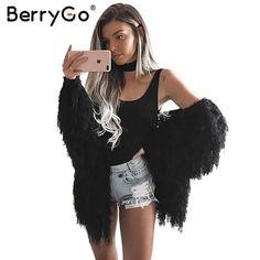 BerryGo Black knitted tassel sweater women cardigan Autumn winter 2017 warm soft female white jumper Long sleeve casual sweater #BerryGo #sweaters #women_clothing #stylish_sweater #style #fashion