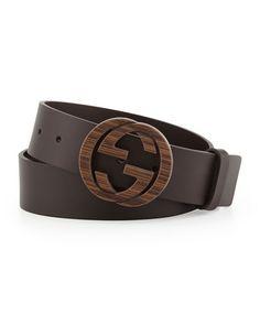 N273Q Gucci Wood Interlocking G Buckle Leather Belt, Brown