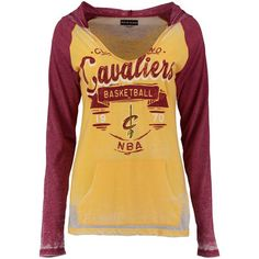 DIY style Women's Cleveland Cavaliers 5th & Ocean by New Era Gold/Burgundy Burnout Raglan Long Sleeve T-Shirt