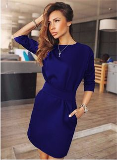 Casual Mini Three Quarter Sleeve Two Side Pocket Dress