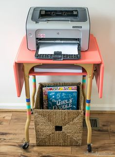 Turn any thrifted find into a statement piece for your home, like this type writer table by Beckie Farrant
