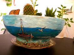 Ζωγραφισμένη κεραμική γλάστρα -  Painted ceramic pot