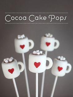 Cocoa mug or coffee cup shaped cake pops