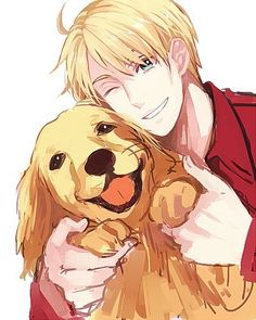 Hetalia America and a Golden Retriever