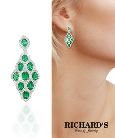 Emerald and Diamond Drop Earrings in 18K White Gold. Contact us today 305-379-3800 sales@richardsjewelry.com