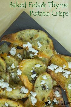 Baked feta & thyme potato crisps/chips recipe. Quick, easy and oh so tasty.