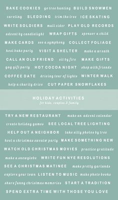 50 festive holiday activities