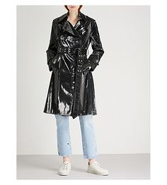 HELMUT LANG Flasher patent cotton-blend trench coat. #helmutlang #cloth #