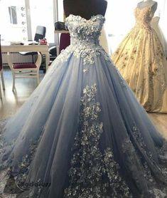 lace embroidery sweetheart light blue tulle ball gowns prom dresses 2018 elegant engagement dress for wedding Blue Ball Gowns, Tulle Ball Gown, Ball Gowns Prom, Ball Gown Dresses, Tulle Lace, Satin Tulle, Dress Lace, Flapper Dresses, Batik Dress