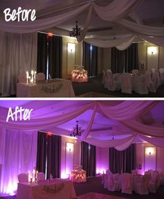 Another dynamic example of before and after lighting when using wedding lighting from Orlando Uplighting. Make your Central Florida wedding reception glow with color! This example is from the awesome Orlando Wedding Venue- Harmony Golf Resort