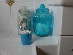 Bathroom. Spray painted jar.