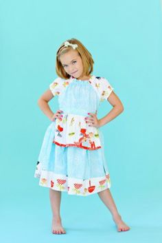 Opal Peasant Blue Dress  www.imaginationchildrensclothing.com
