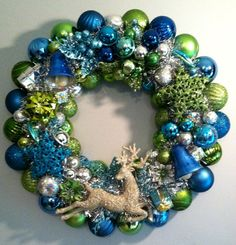 Olive & Teal Blue Retro Style Christmas Ornament Wreath