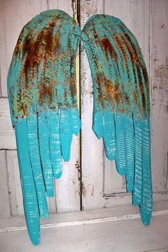 Large wooden angel wings beach cottage blue by AnitaSperoDesign, $195.00