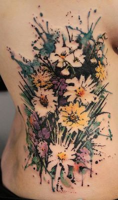 Flower watercolor tattoo - 65+ Examples of Watercolor Tattoo  <3 <3