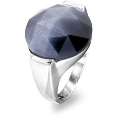 Ethan Stars Gray Cat's Eye & Sterling Silver Faceted Ring ($50) ❤ liked on Polyvore featuring jewelry, rings, star jewelry, gray ring, sterling silver jewellery, facet jewelry and star ring