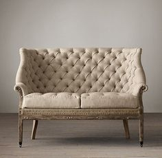 Farmhouse decorating using Seating - Deconstructed C. English Wing Settee Upholstered I Restoration Hardware - deconstructed english wing settee, deconstructed bu. Style At Home, Eclectic Sofas, English Living Rooms, Sofa Styling, Home Fashion, Living Room Furniture, Love Seat, Interior Design, Sofa Design