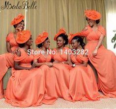 2016 Nigeria Style Summer Long Formal Bridesmaid Dresses V Neck Sleeveless Chiffon African Wedding Party Gown Bruidsmeisjes Jurk