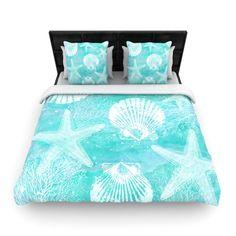"Sylvia Cook ""Seaside"" Blue Teal Woven Duvet Cover - KESS InHouse  - 1"