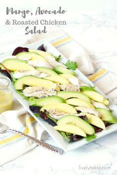 A simple and delicious salad featuring juicy mango, creamy avocado, and roasted chicken with a honey dijon lemon vinaigrette. Yummy Vegetable Recipes, Healthy Summer Recipes, Spring Recipes, Healthy Salad Recipes, Fruit Recipes, Chicken Recipes, Roasted Chicken, Chicken Salad, Avocado Chicken