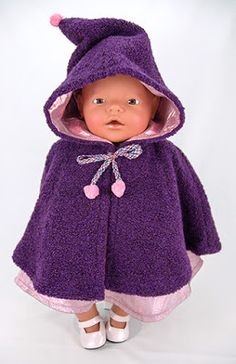 Crochet Patterns Girl Sewing Cape for Baby Born Doll - Free Doll Cape Pattern Sewing Doll Clothes, Crochet Doll Clothes, Girl Doll Clothes, Girl Dolls, Baby Dolls, Dolls Dolls, Sewing Toys, Dollhouse Dolls, Dress Clothes