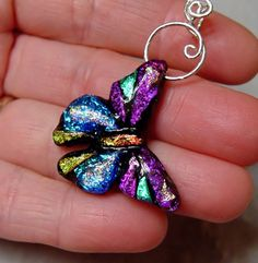 Hand sculpted fused dichroic glass butterfly by ChrysalisDreams
