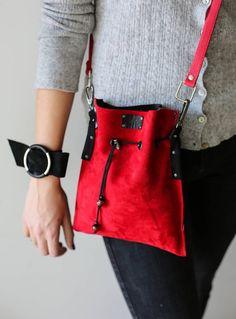 Two sided Bag Bucket Bag Red Handbag Leather Cross Body Bag - Prada Corsaire Bag - Ideas of Prada Corsaire Bag - Two sided Bag Bucket Bag Red Handbag Leather Cross Body Bag Leather Bum Bags, Leather Crossbody Bag, Leather Handbags, Prada Bag, Prada Handbags, Medium Sized Bags, Red Handbag, Red Bags, Cross Body Handbags