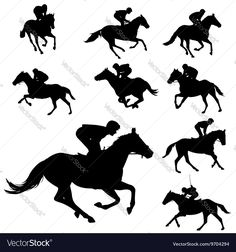 racing horses and jockeys silhouettes 2 - vector Sunset Silhouette, Silhouette Images, Animal Silhouette, Silhouette Vector, Free Vector Images, Vector Free, Horse Clip Art, Horse Template, Race Night