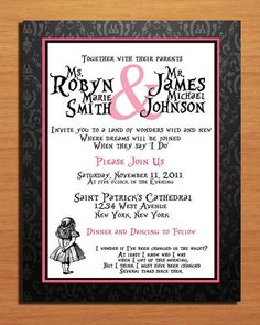 Alice in Wonderland / Black Damask and Hot Pink Modern Wedding Invitation PRINTABLE / DIY
