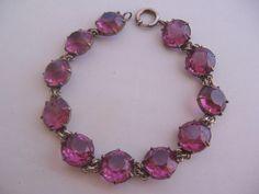 Vintage Art Deco Large Faceted Purple Crystal Bracelet