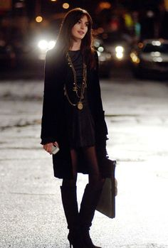 OMG LOVE THIS! The shorter dress, longer sweater, tights and boots! YES! This is me!