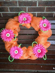 Orange deco mesh wreath, flowers, tubing, Summer loving