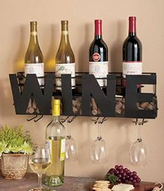Premium Black Wall Mount Metal Wine Rack With Wine Word By Besti Hanging Bottle Corks Wine Glasses Holder Storage Decorative Display Sturdy Construction Home Dcor For Living Room Or Kitchen ** Read more at the image link. (This is an affiliate link) Wine Theme Kitchen, Kitchen Bar Decor, Kitchen Themes, Kitchen Dinning, Wine Bottle Rack, Wine Rack Wall, Bottle Holders, Wine Bottles, Cork Holder