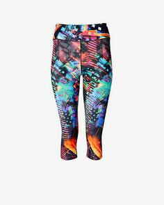 bright abstract EXP core compression crop legging