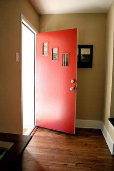 """DIY door kit - The """"Grover"""" - from Crestview Doors. Almost put in a front door like this that the neighbors took out. My front door is a weird size tho so painting is a better choice than replacing. Mid Century Modern Door, Mid Century Exterior, Mid Century House, Mid Century Style, Modern Exterior Doors, Modern Entry, Modern Front Door, Modern Living, Midcentury Front Doors"""
