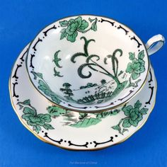 "Handpainted Green ""Pekin"" Royal Chelsea Tea Cup and Saucer Set"