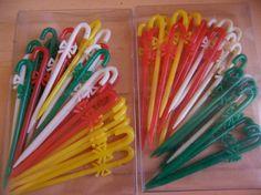 Vintage colorful plastic party picks