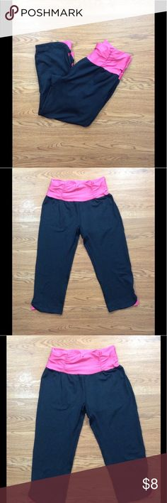 Ikonik Black And Pink Workout Capris Ikonik black and pink Workout capris. Size small. In very good condition. Measurements taken flat. These do stretch a little if needed. Waist - approximately 12 inches across. Inseam - 17 inches Ikonik Pants Track Pants & Joggers