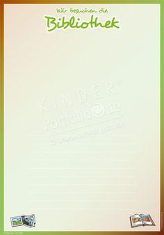 """Kindergarten Portfolio Vorlagen """"Wir besuchen die Bibliothek"""""""