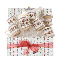 Our Afternoon Tea Gift Set will make anyone smile. It includes our teapot, four large mugs, a small cylinder jug and a lidded sugar bowl plus our gift box. Tea Gift Sets, Tea Gifts, Afternoon Tea Set, Wedding Types, Wedding Day Gifts, Old Rose, Old Things, Pottery, Mugs