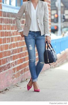 Blue jeans, white shirt and nude blazer