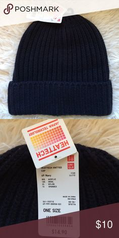 Uniqlo HEATTECH navy blue knitted beanie 🆕🆕🆕 Brand new fisherman beanie. Navy blue in a soft cable knit with a cuff. 83% acrylic, 14% wool, 2% nylon and 1% spandex. From Uniqlo's HEATTECH line, which uses your body heat to help keep you warm. ❄☀️️ I love HEATTECH items and they make good gifts for cold friends! 🎁 This style is sold out. 💕 Uniqlo Accessories Hats
