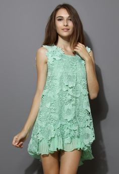 Full Crochet Floral Mint Dress with Fluted Hemline