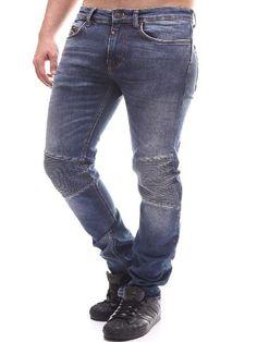 CoJ Men Slim Fit Biker Ribbed Knee Jeans - Blue