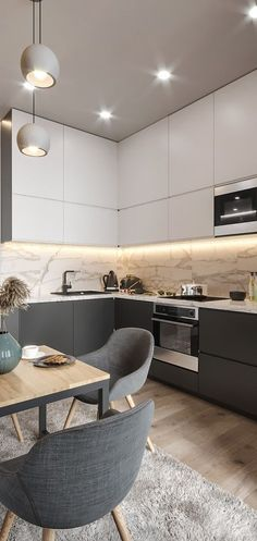 Фотографии ДИЗАЙН СТУДИЯ А+Б – Deko wohnung- Einrichtungsideen -Einrichtungstipps- Kitchen Room Design, Kitchen Cabinet Design, Modern Kitchen Design, Home Decor Kitchen, Interior Design Kitchen, Kitchen Furniture, Home Kitchens, Kitchen Grey, Modern Design