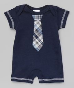 Another great find on #zulily! Navy Plaid Tie Romper - Infant by Too Sweet #zulilyfinds