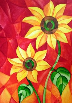 Abstracted Sunflower Pair by Tiffany Budd Polygon Art, Cubism Art, Sunflower Art, Arte Pop, Elements Of Art, Abstract Watercolor, Mosaic Art, Art Lessons, Art Projects